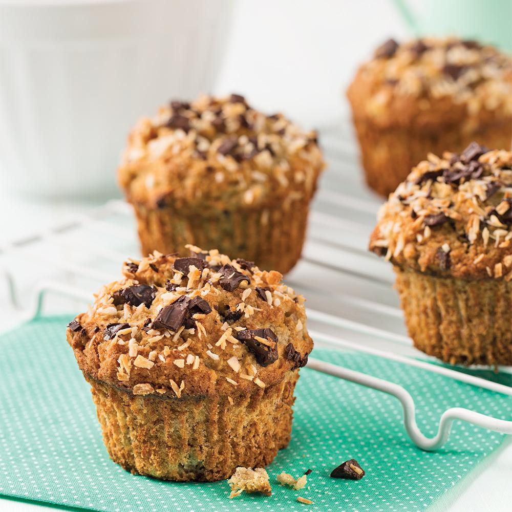 Muffins aux bananes et chocolat sans gluten - Recette